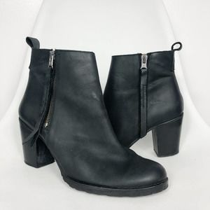 SIXTY SEVEN Black Leather Heeled Ankle Boots 10.5